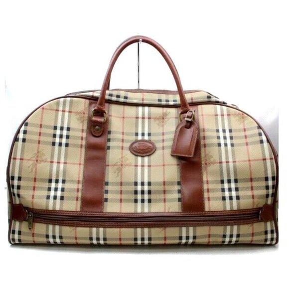 Auth Burberry Nova Check Travel Bag #6252B30